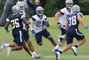 May 25, 2016; Irving, TX, USA; Dallas Cowboys running back Ezekiel Elliott (21) runs with the ball during organized team activities at Dallas Cowboys Headquarters. Mandatory Credit: Matthew Emmons-USA TODAY Sports
